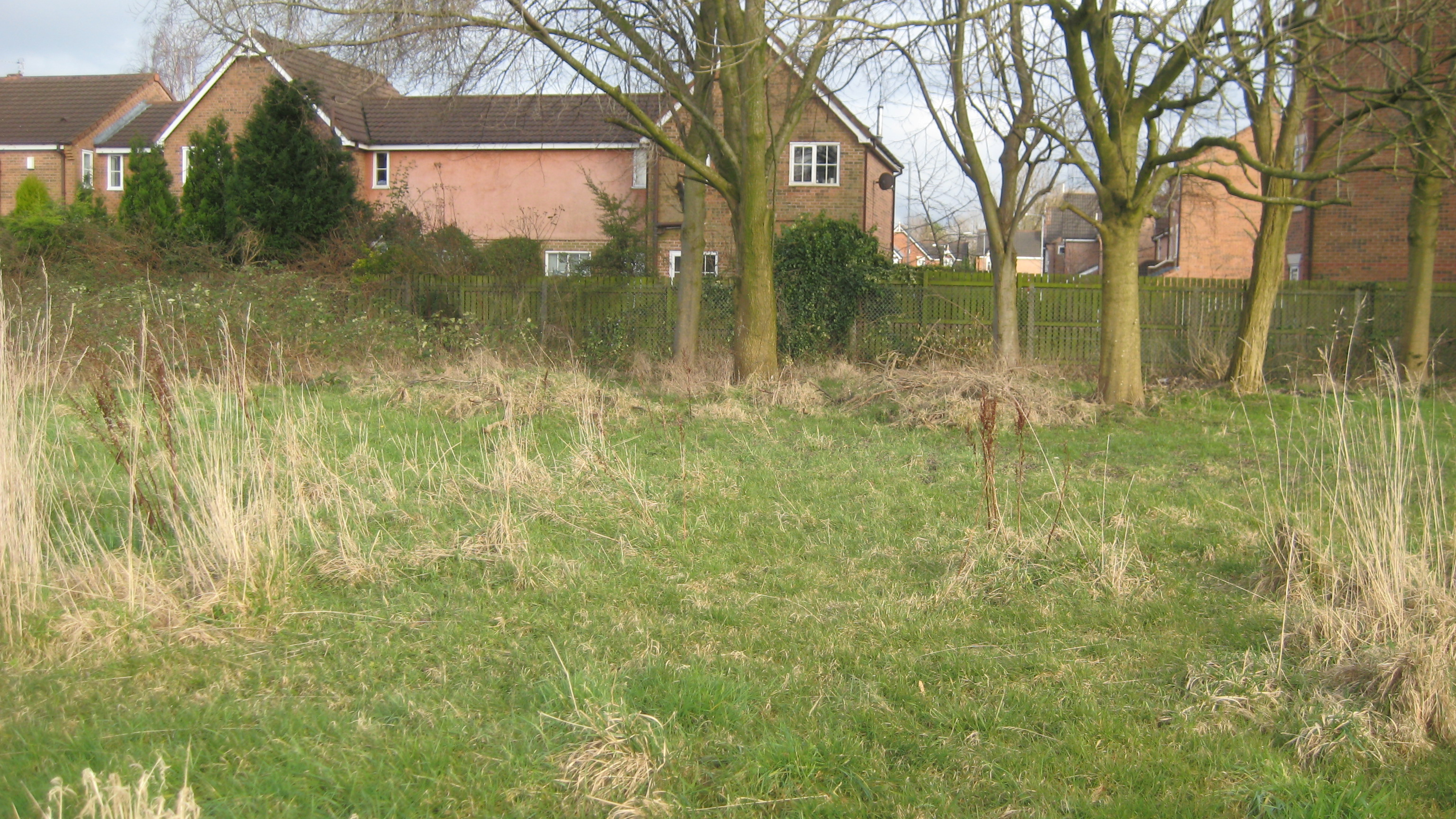 A view of the housing estate that is built on the old St Anne's playing fields. The grassy area may have been part of the fields